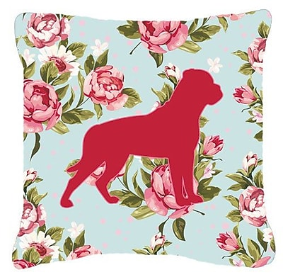 East Urban Home Rottweiler Shabby Elegance Blue Roses Indoor/Outdoor Throw Pillow