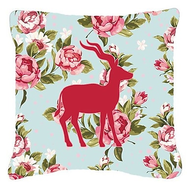 East Urban Home Deer Shabby Elegance Blue Roses Square Indoor/Outdoor Throw Pillow