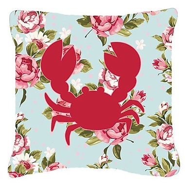 East Urban Home Crab Shabby Elegance Blue Roses Indoor/Outdoor Throw Pillow; 14'' H x 14'' W x 4'' D