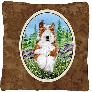 East Urban Home Bearded Collie Brown Indoor/Outdoor Throw Pillow