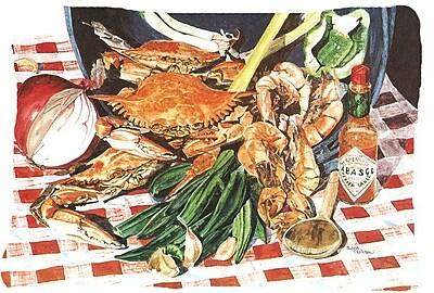 East Urban Home Coastal Crab Boil Indoor/Outdoor Throw Pillow