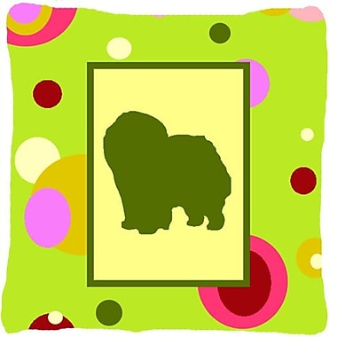 East Urban Home Chow Chow Polka Dots Green Indoor/Outdoor Throw Pillow