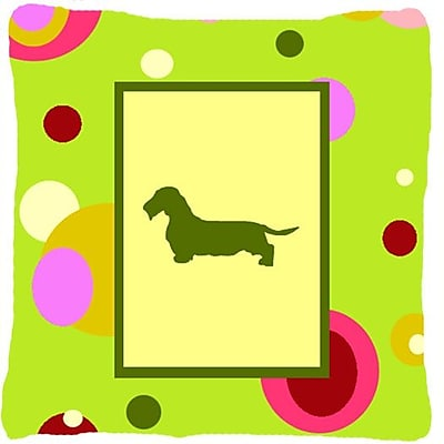 East Urban Home Dachshund Polka Dots Square Green Indoor/Outdoor Throw Pillow