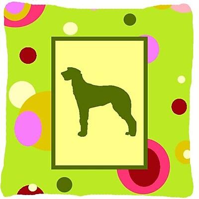 East Urban Home Scottish Deerhound Polka Dots Green Indoor/Outdoor Throw Pillow