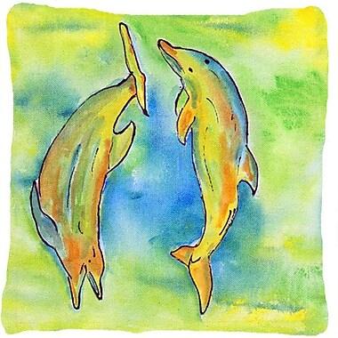 East Urban Home Dolphin Indoor/Outdoor Green/Blue Throw Pillow