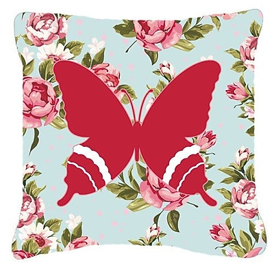 East Urban Home Butterfly Shabby Elegance Blue/Red Roses Indoor/Outdoor Fabric Throw Pillow