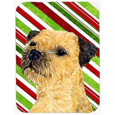 East Urban Home Border Terrier Candy Cane Holiday Christmas Glass Cutting Board
