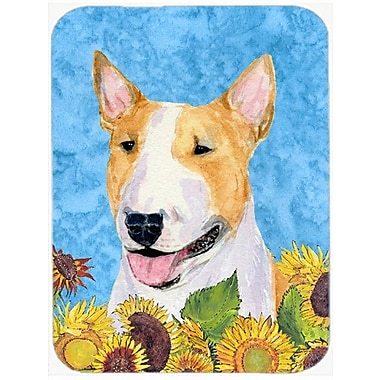 East Urban Home Bull Terrier and Sunflowers Glass Cutting Board