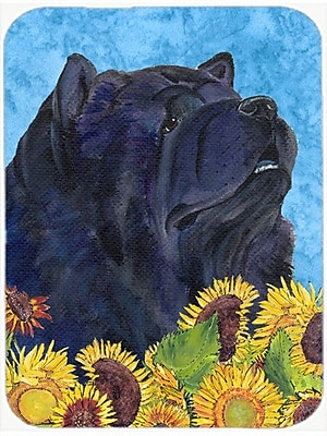 East Urban Home Chow Chow and Sunflowers Glass Cutting Board