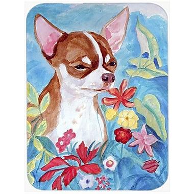 East Urban Home Chihuahua in Flowers Glass Cutting Board