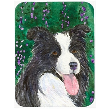 East Urban Home Border Collie Rectangle Tempered Glass Cutting Board