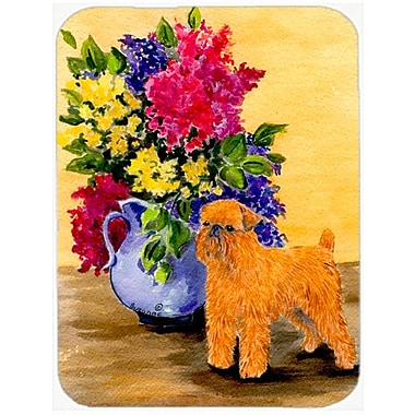 East Urban Home Brussels Griffon and Flowers Glass Cutting Board