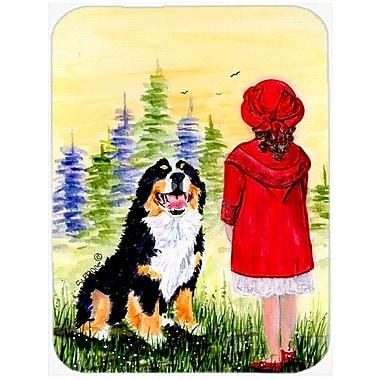 East Urban Home Little Girl w/ Her Bernese Mountain Dog Glass Cutting Board