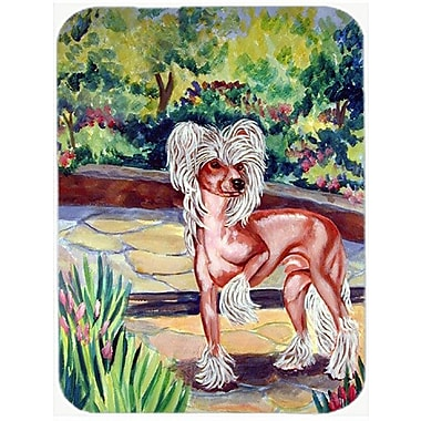 East Urban Home Chinese Crested on the Patio Glass Cutting Board