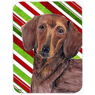East Urban Home Dachshund Candy Cane Holiday Christmas Rectangle Tempered Glass Cutting Board