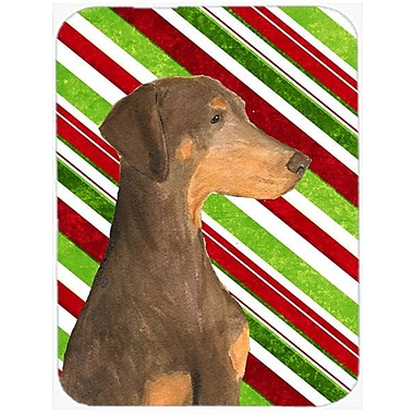 East Urban Home Doberman Candy Cane Holiday Christmas Tempered Glass Cutting Board