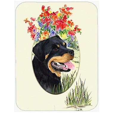 East Urban Home Rottweiler and Flower Glass Cutting Board