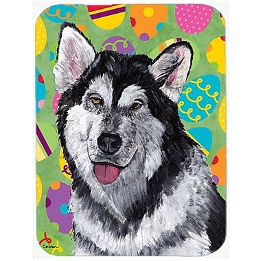 East Urban Home Alaskan Malamute Easter Eggstravaganza Glass Cutting Board