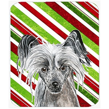 East Urban Home Chinese Crested Candy Cane Christmas Rectangle Glass Cutting Board