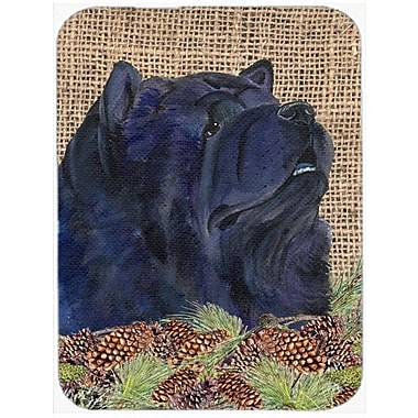 East Urban Home Black Chow Chow and Pine Cone Glass Cutting Board