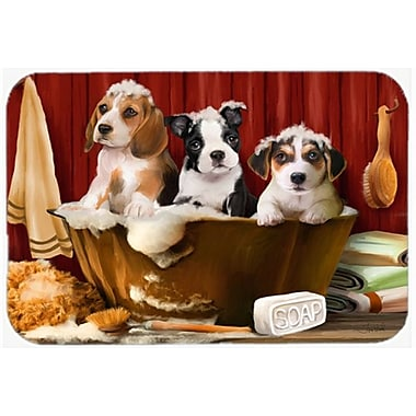 East Urban Home Beagle, Boston Terrier and Jack Russell in the Tub Glass Cutting Board