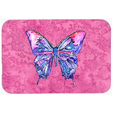 East Urban Home Butterfly Rectangle Glass Cutting Board; Pink