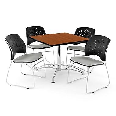 OFM – Table carrée multi-usage en cerisier, 36 po, 4 chaises mastic (845123042489)