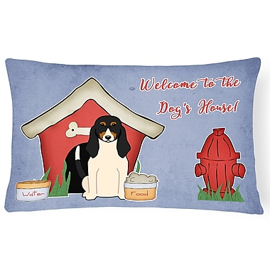 East Urban Home Dog House Rectangle Blue/Red Indoor/Outdoor Lumbar Pillow