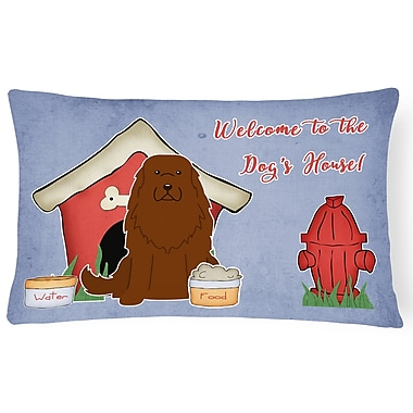 East Urban Home Dog House Contemporary Blue/Red Indoor/Outdoor Lumbar Pillow