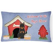 East Urban Home Wildlife Dog Dog House Indoor/Outdoor Blue Lumbar Pillow