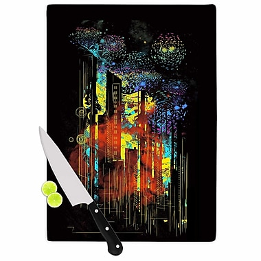 East Urban Home Federic Levy Hadida Glass 'Starry City Lights Rainbow' Cutting Board