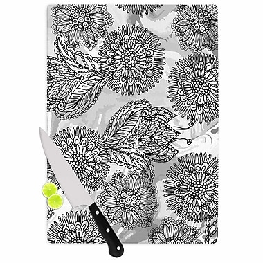 East Urban Home Julia Grifol Glass 'Flowers in Gray Vector' Cutting Board