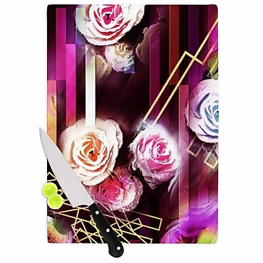East Urban Home Dawid Roc Glass 'Roses Floral Geometric Stripes' Cutting Board