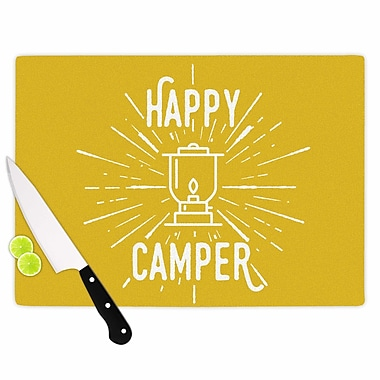East Urban Home Jackie Rose Glass 'Happy Camper Typography' Cutting Board