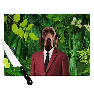 East Urban Home Natt Glass 'Into the Leaves N2 Dog' Cutting Board; 0.25'' H x 15.75'' W x 11.5'' D