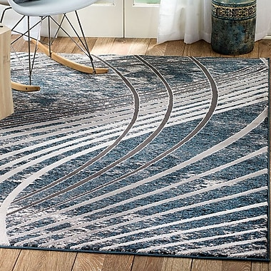 Ebern Designs Ross Glamour Wave Blue /Gray Area Rug; 8' x 10'6''