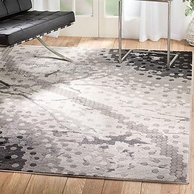 Ebern Designs Ross Glamour Mosaic Gray Area Rug; Runner 2' x 7'