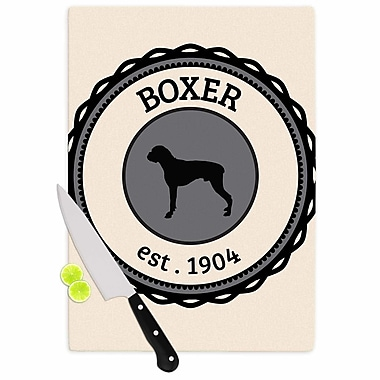 East Urban Home Glass 'Boxer Dogs' Cutting Board; 0.25'' H x 15.75'' W x 11.5'' D