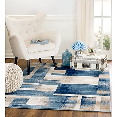 Ebern Designs Sawyer Geometric Light Blue Area Rug; 5' x 7'