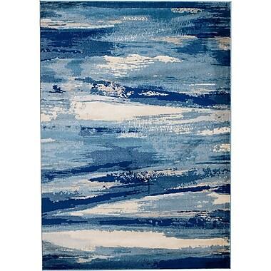 Ebern Designs Sawyer Seascape Navy Blue Area Rug; Runner 2' x 7'