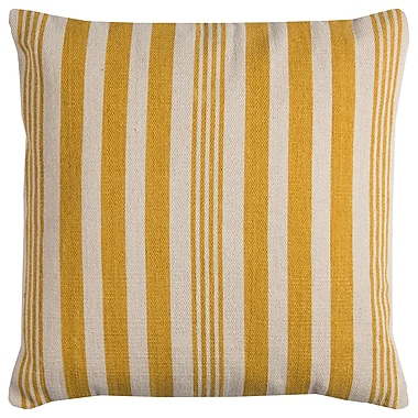 Gracie Oaks Gladiola Cotton Throw Pillow; Yellow