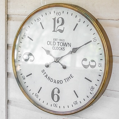 Gracie Oaks Oversized Old Town Station 23.5'' Wall Clock