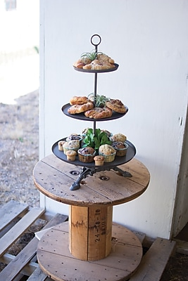 Gracie Oaks Ingrid Round Metal Serving 3 Tiered Stand