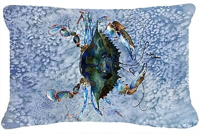Highland Dunes Burgett Crab Nautical Rectangular Blue Indoor/Outdoor Throw Pillow