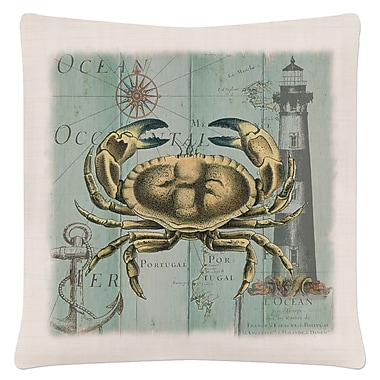 Highland Dunes Ionie Coastal Collage Crab Pillow Cover