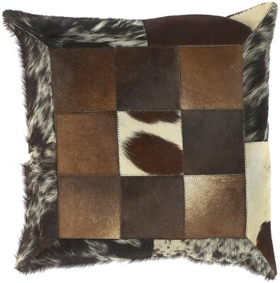 Loon Peak Calen Captivating Cow Hide Leather Throw Pillow; Polyester