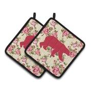 Loon Peak Butterfield Bear Shabby Elegance Roses Potholder (Set of 2)