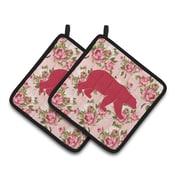 Loon Peak Butterfield Pink Bear Shabby Elegance Roses Potholder (Set of 2)