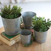 Kalalou Tapered 4 Piece Galvanized Metal Pot Planter Set