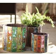 Kalalou Round Recycled Colorful Wooden 3-Piece Pot Planter Set